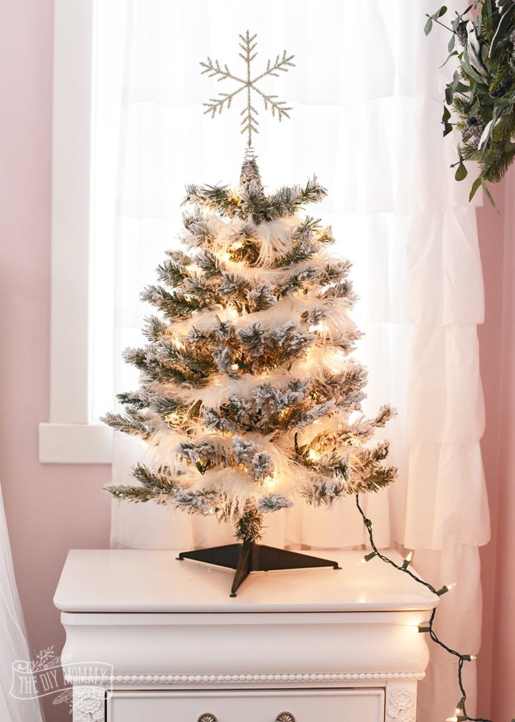 A White Pink Metallic Flocked Fairy Tale Christmas Tree In The Bedroom The Diy Mommy