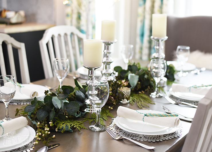 aqua blue teal green farmhouse christmas table hutch decoration ideas - Green Christmas Table Decorations
