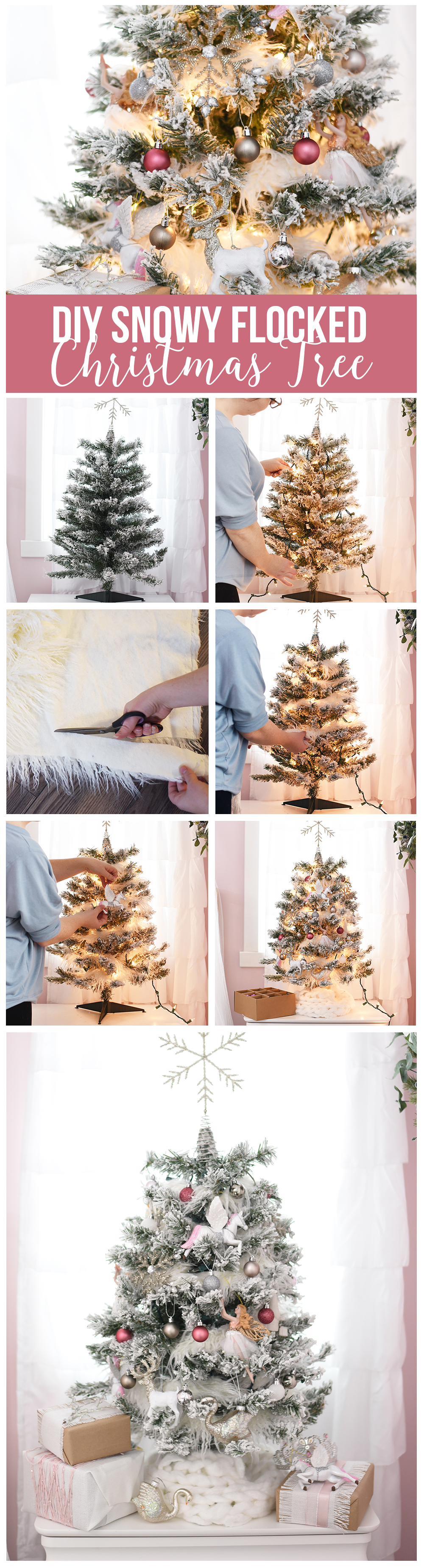 DIY extra snowy, magical flocked Christmas tree idea