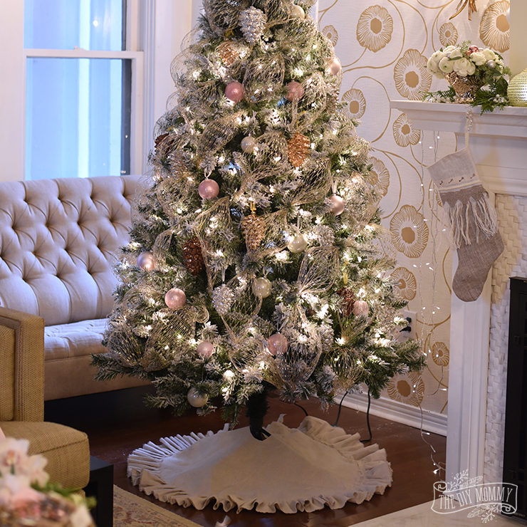 How to make a ruffled no sew Christmas tree skirt out of a dropcloth