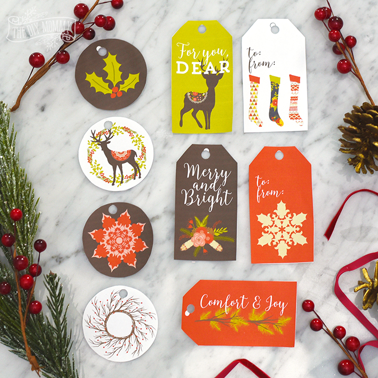Free printable vintage rustic gift tags in red, brown, green