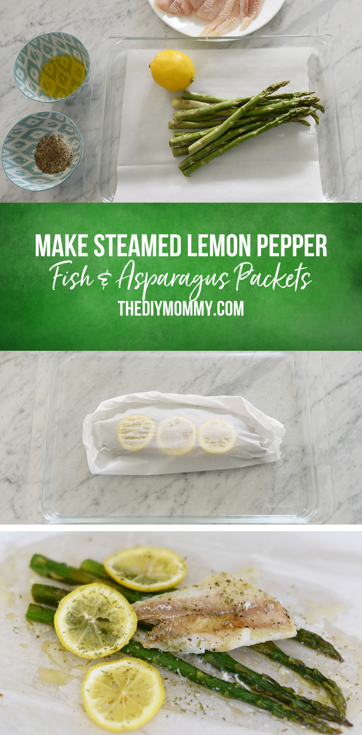 Step by Step directions to make Steamed Lemon Pepper Fish & Asparagus in a parchment paper packet