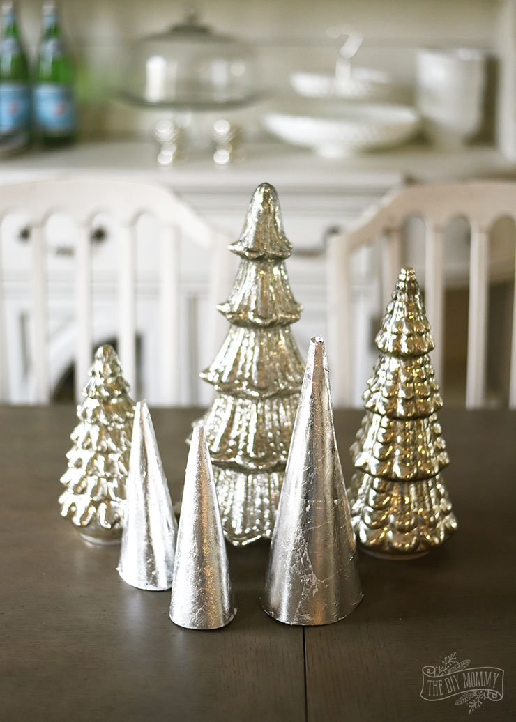 DIY silver leaf paper cone trees for Christmas tabletop decor