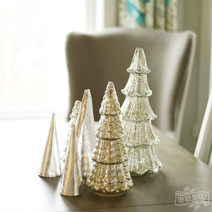 Metal Tabletop Christmas Tree: Make Silver Leaf Paper Trees For Christmas Tabletop Decor