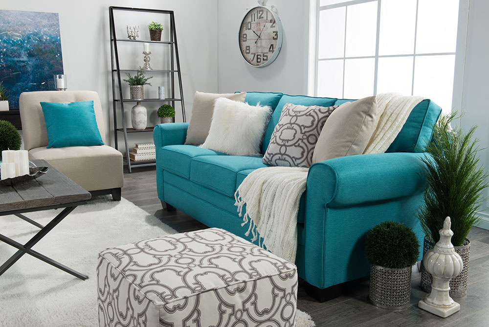 Traditional living room design in teal gray and white thediymommy