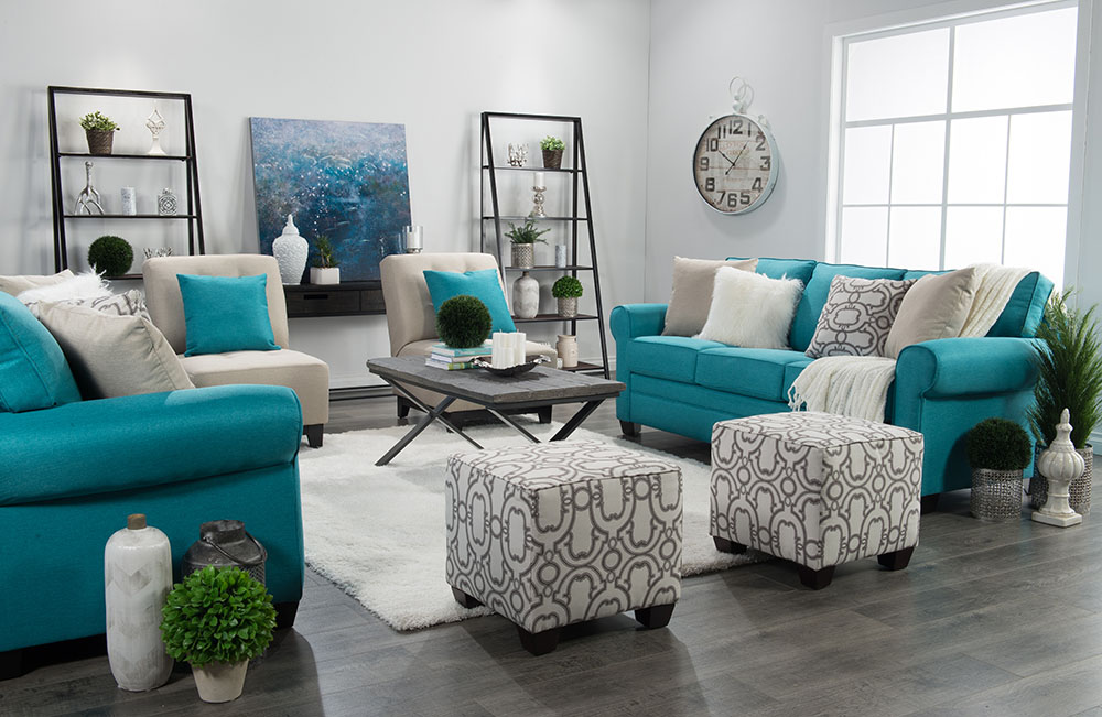 Traditional Living Room Design In Teal, Gray And White    Thediymommy.comTraditional Living Room
