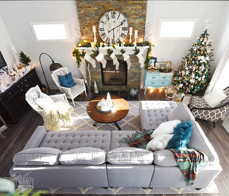 natural green teal silver gold and white christmas decoration ideas - Teal And Gold Christmas Decorations