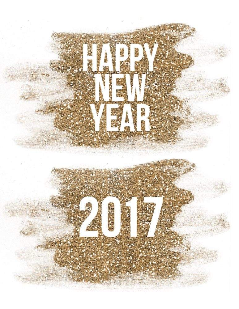 Free New Year's Printables with Gold GLitter
