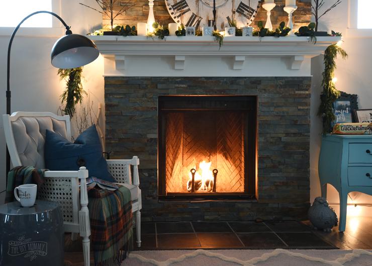 Cozy Christmas Fireplace at Night