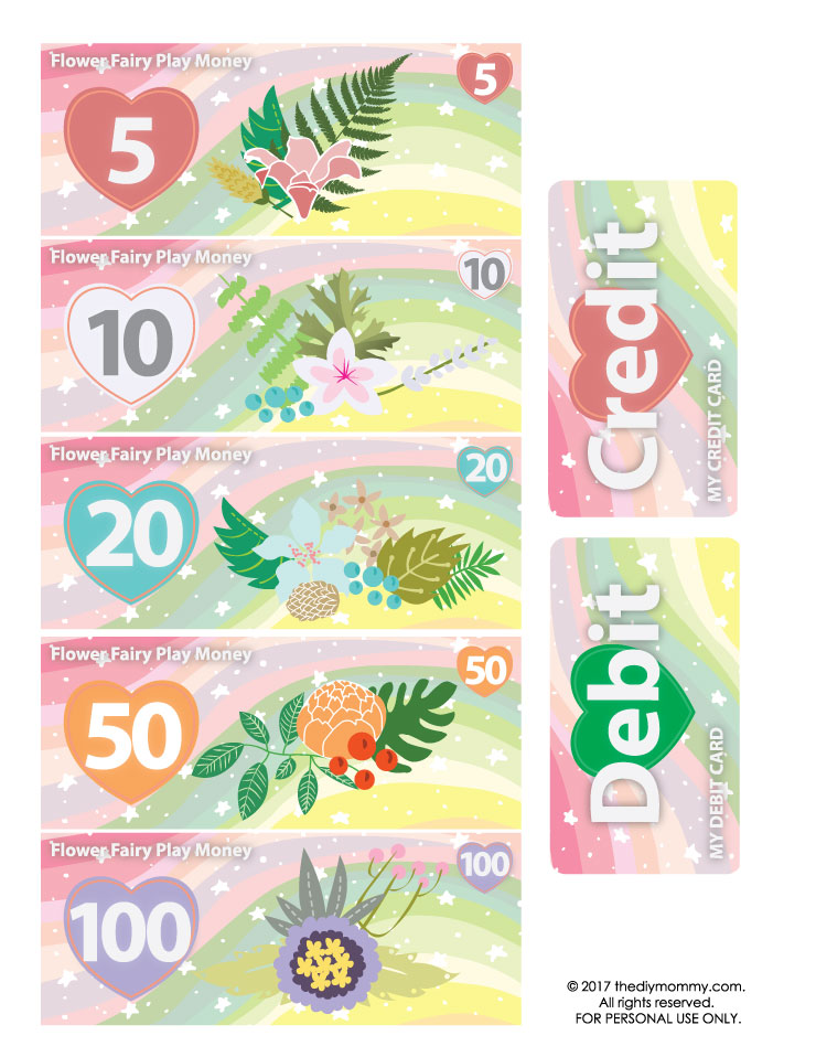 graphic regarding Free Printable Money titled Flower Fairy Engage in Financial and Playing cards No cost Printable