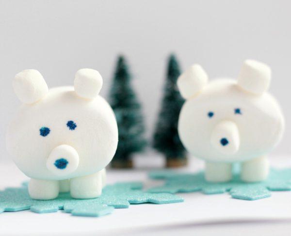 Easy 3d Edible Marshmallow Polar Bear Craft The Creative Corner