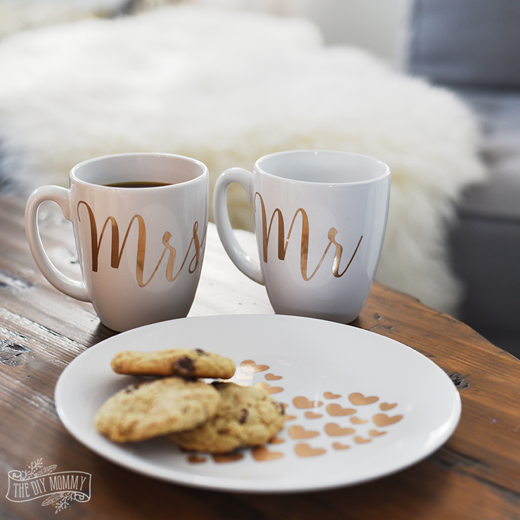 DIY Gold Foil Heart Plate and Mr & Mrs Mugs with the Cricut