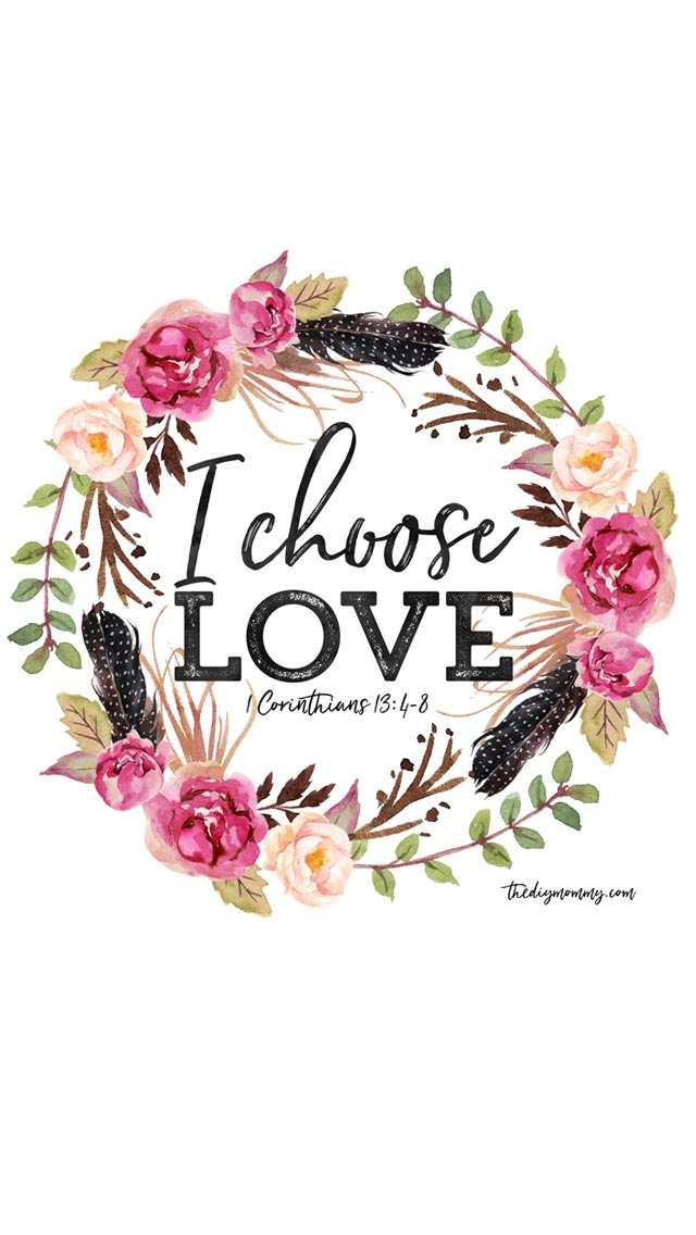 I Choose Love Free Valentine Printable Artwork, Computer Desktop Wallpaper, iPhone Wallpaper