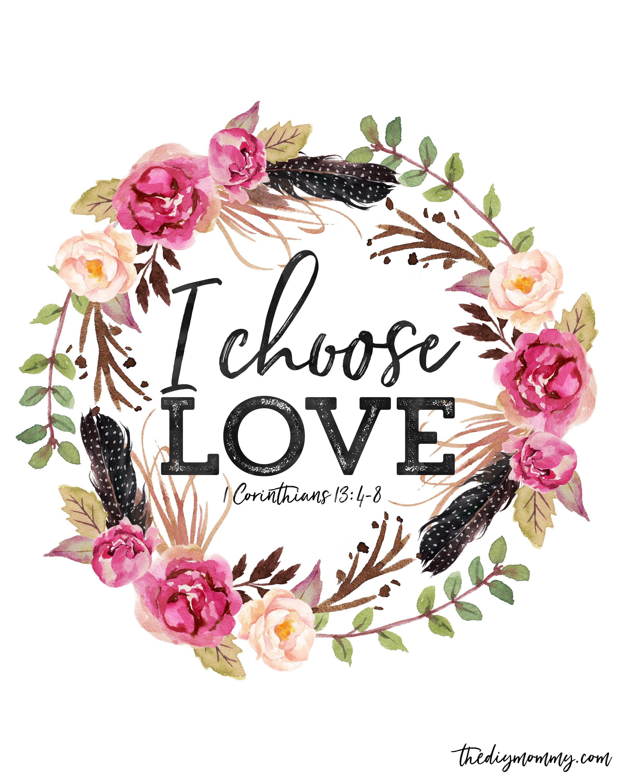 i choose love free valentine printable artwork, desktop wallpaper