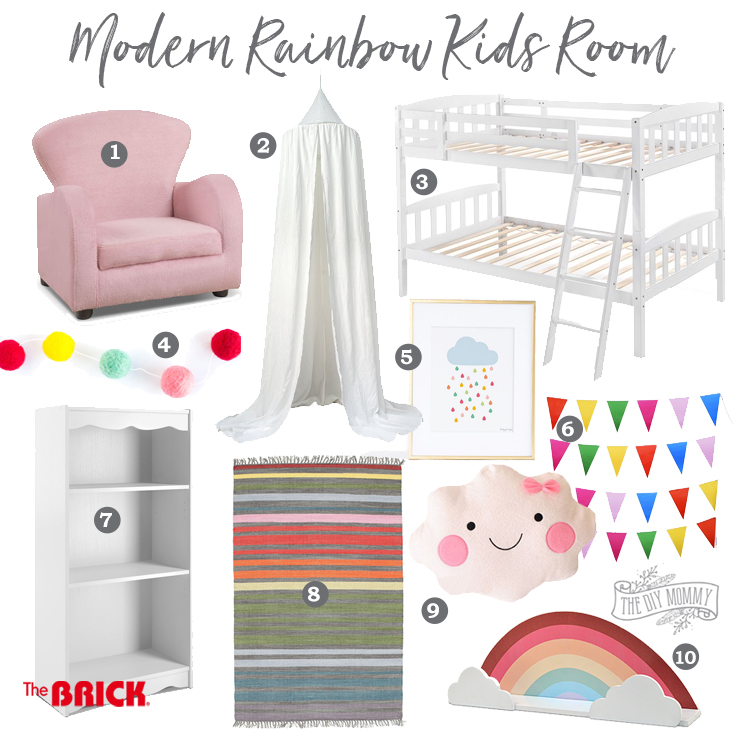 Modern Rainbow Toddler Bedroom Mood Board