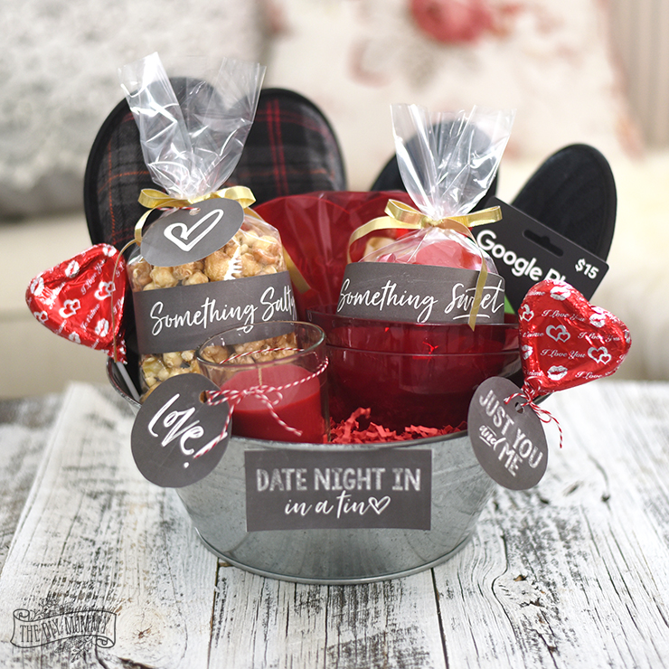 Valentine's Day Date Night In Gift Basket Idea