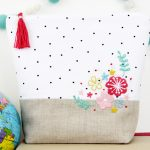 Floral Embroidered Zipper Pouch + The Creative Corner #135: DIY, Craft & Home Decor Link Party