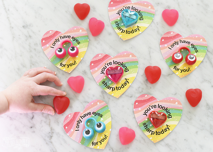 Free Printable Rainbow Heart Non Candy Valentines
