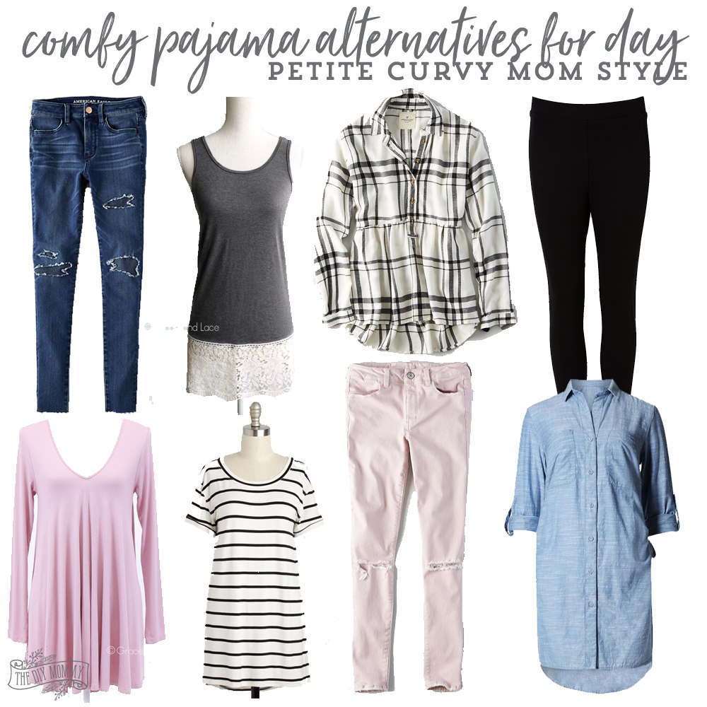 comfy pajama alternatives for day - petite curvy mom style