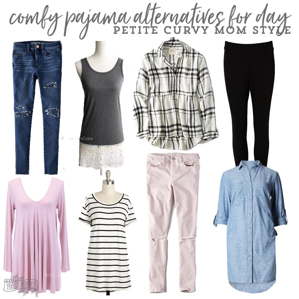 comfy pajama alternatives for day - petite curvy mom style