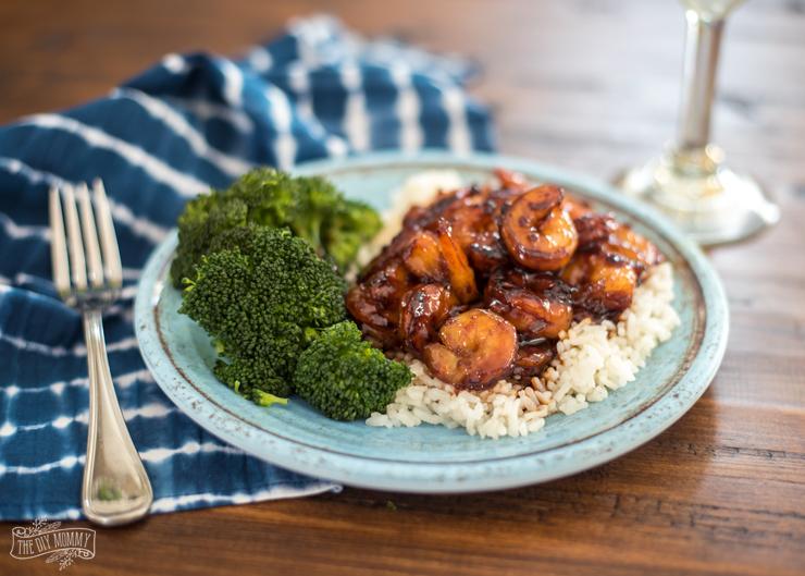Easy Honey Garlic Shrimp with Miinute Rice & Steamed Broccoli Recipe