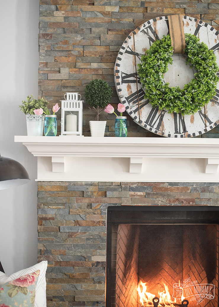 Fresh, Floral Spring Mantel Decor Idea