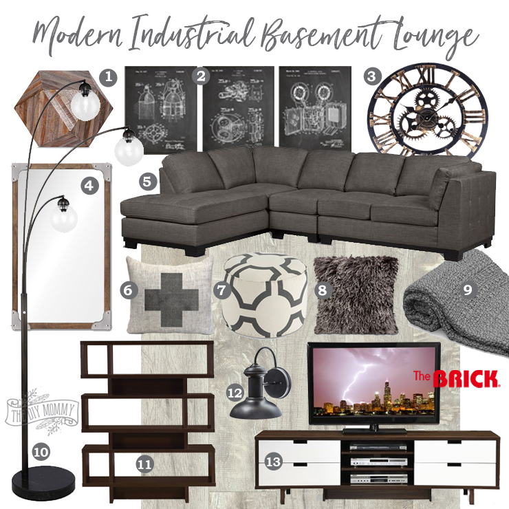 Mood Board Modern Industrial Basement Lounge