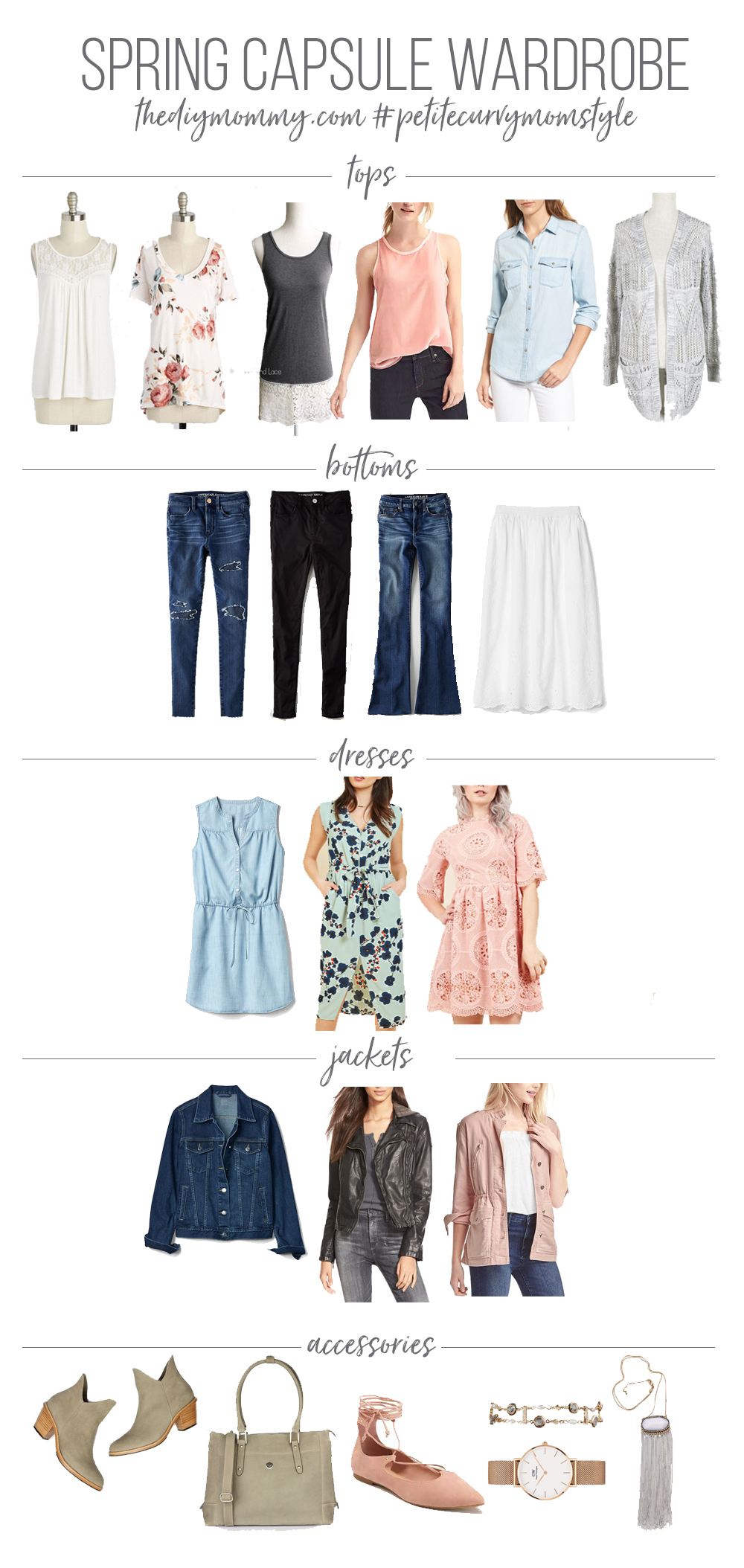 Spring Capsule Wardrobe - Spring Outfit Ideas - Petite Curvy Mom Style