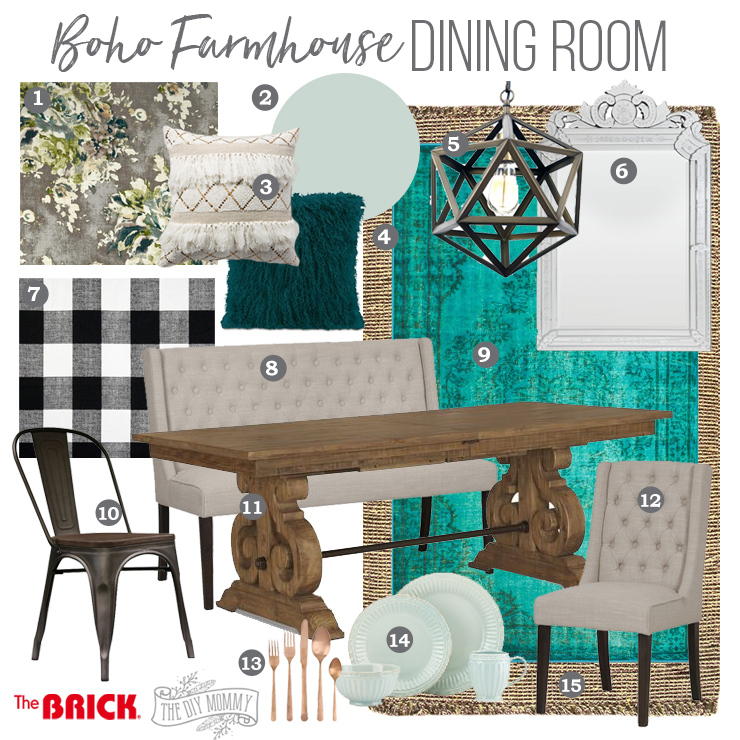 Boho Farmhouse Dining Room Mood Board | Teal, black, white, gray, geometric, texture