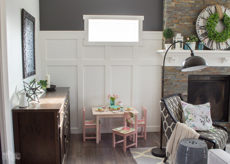 DIY Board & Batten Fireplace Wall and Kids Table Makeover with Behr Paint