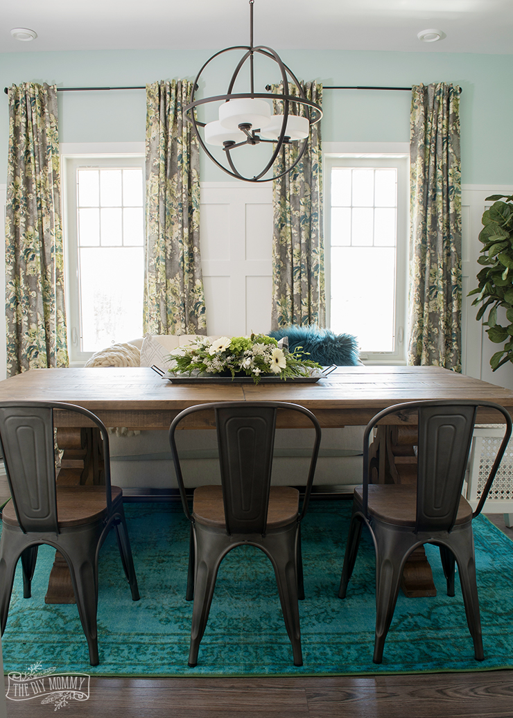 Eclectic Boho Farmhouse Dining Room Design in Teal, Black and White