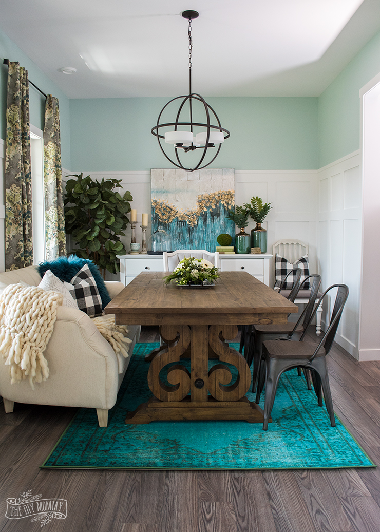Incroyable Eclectic Boho Farmhouse Dining Room Design In Teal, Black And White