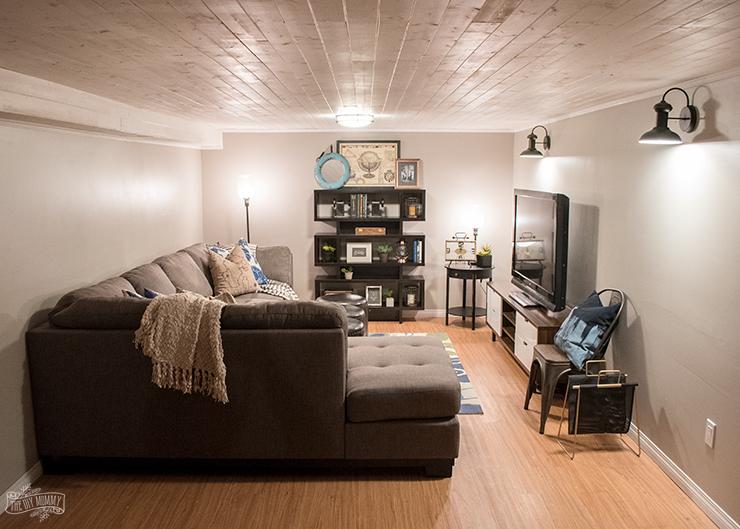 modern industrial basement makeover the diy mommy rh thediymommy com basement makeover Dark Basement Makeover