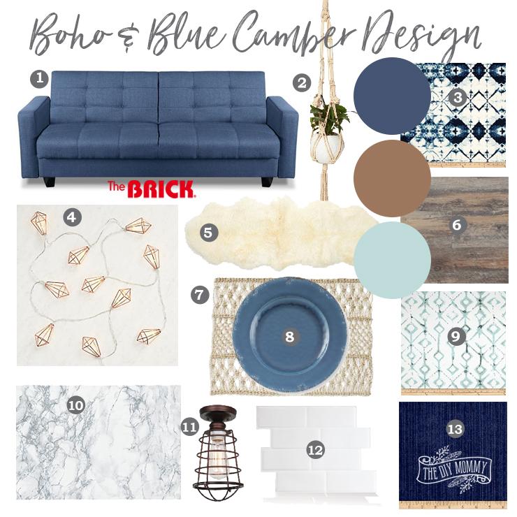 Boho and Blue Camper Design Mood Board