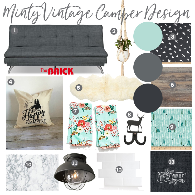Mint Black and White Camper Design Mood Board