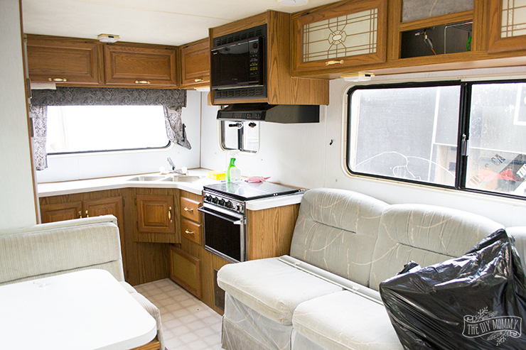 Medium image of it u0027s your typical honey oak kitchen that was so popular in the early 90s  you can read more about our camper before right here