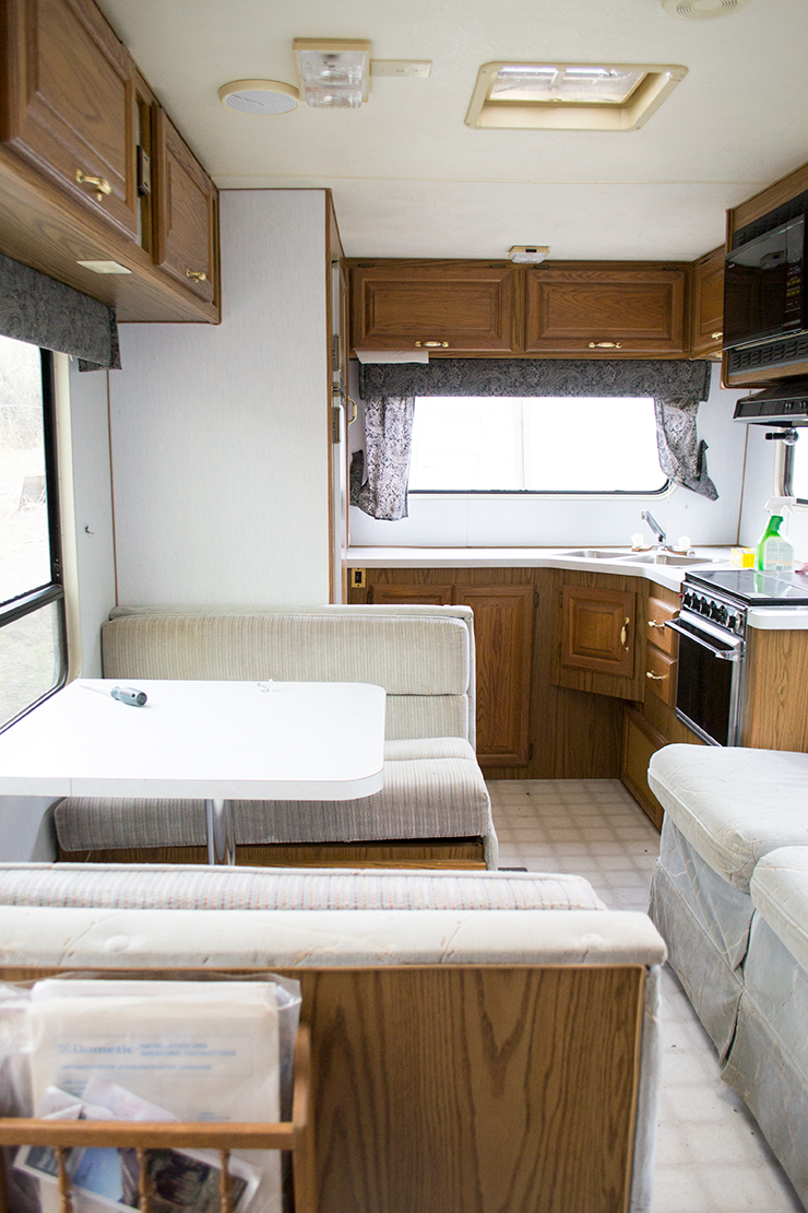 hubby drove 4 hours up to peace river and 4 hours back down to buy this guy the camper actually looks pretty decent inside but there is a lot of water - Camper Design Ideas