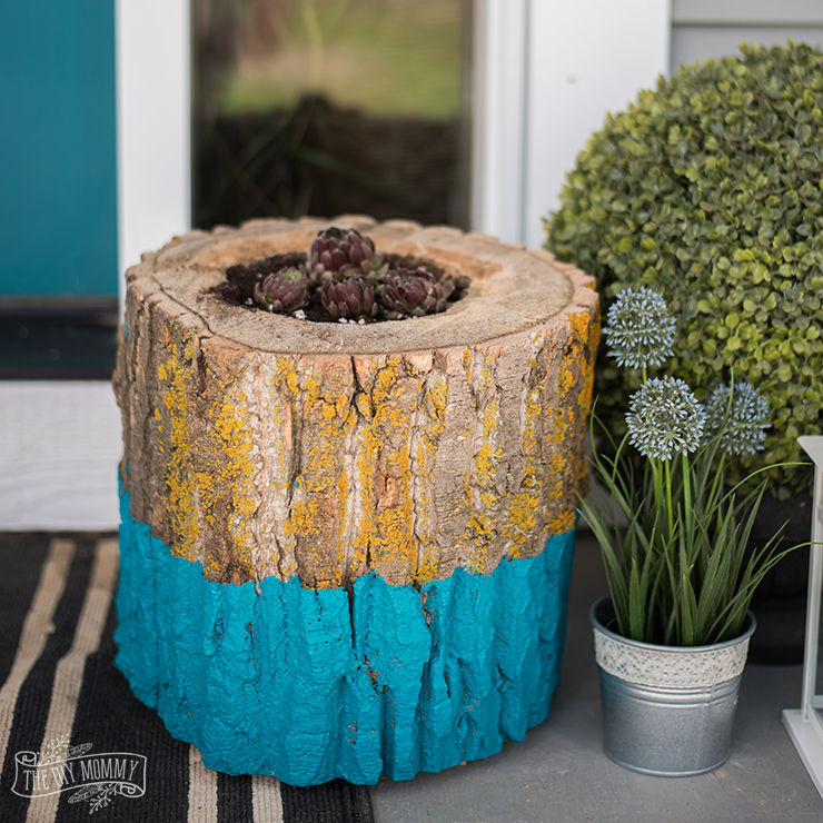 DIY Paint Dipped Succulent Log Planter