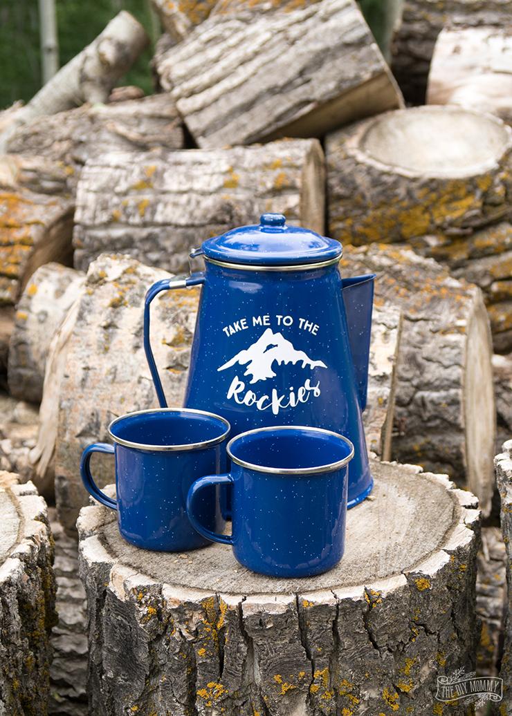 Take Me to the Rockies Camping Percolator Art - FREE SVG Cut File!