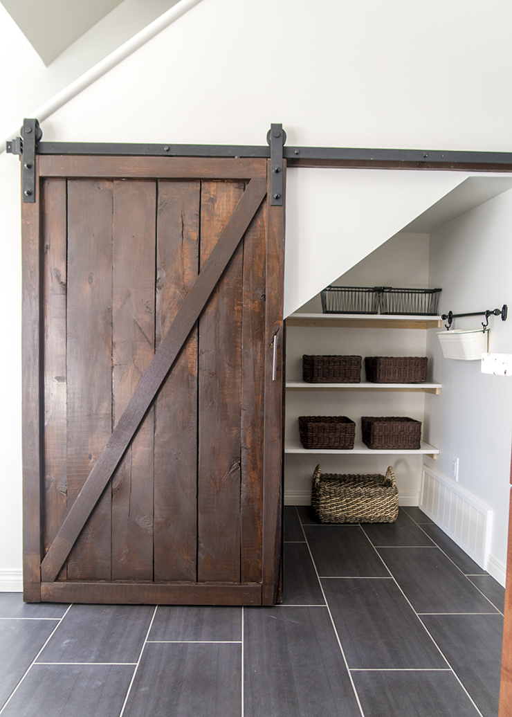 Under Stairs Pantry with DIY Sliding Barn Door - The DIY Mommy