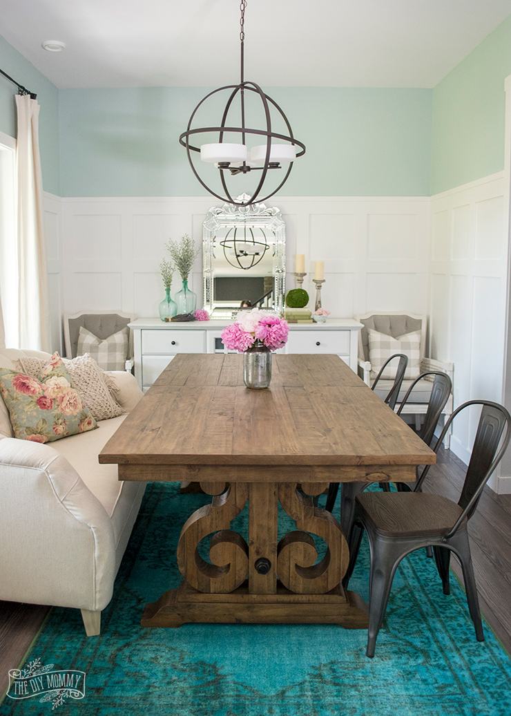 Teal And Pink Boho French Country Dining Room Decor
