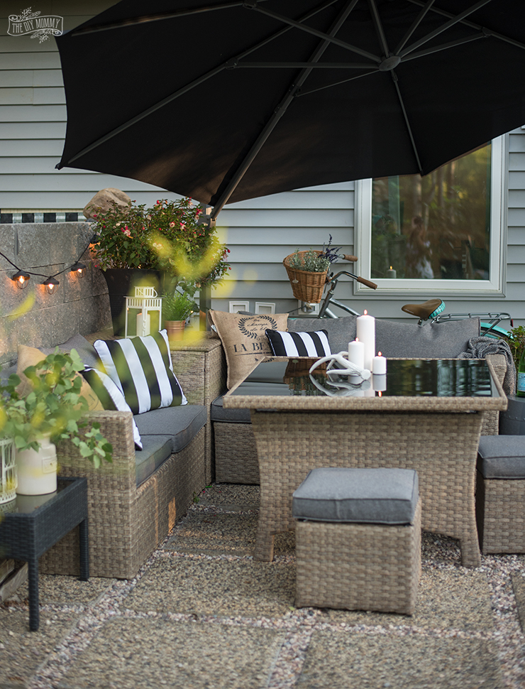 DIY modern french country patio makeover with reclaimed stone & pea gravel