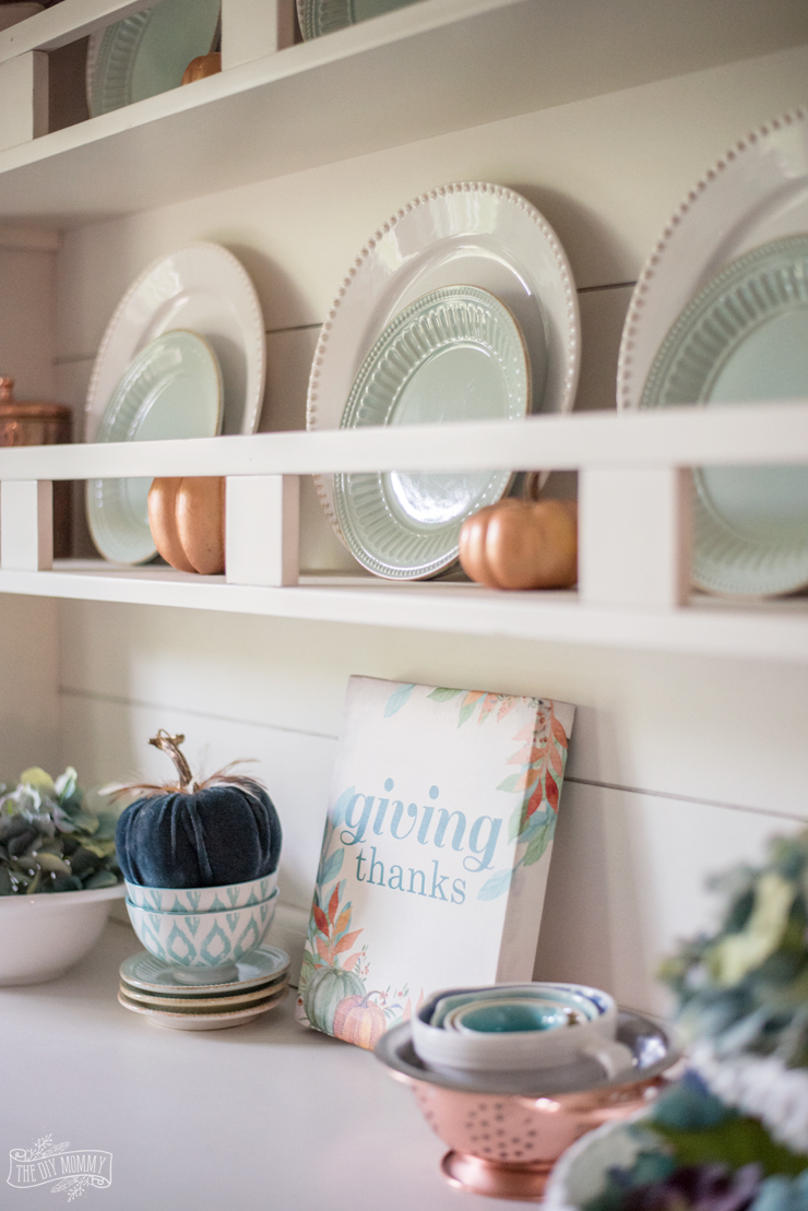 Copper and green Fall hutch decor