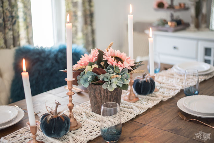 Colorful Boho Fall Dining Room and Tablescape Ideas