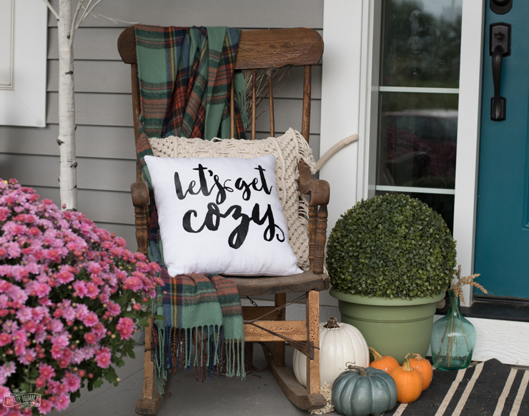 DIY Let's Get Cozy Pillow for Fall - Free SVG File & Free Printable