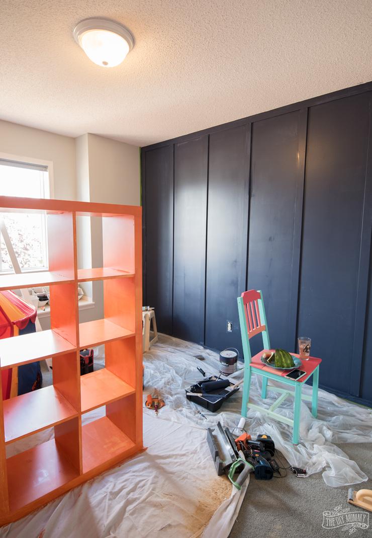 BEHR paint in Dark Denim and Civara Orange
