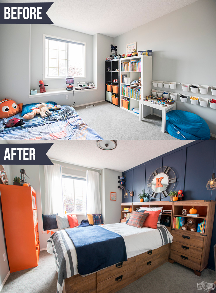 A Modern Navy & Orange Nautical Kids\' Room Makeover – The ...