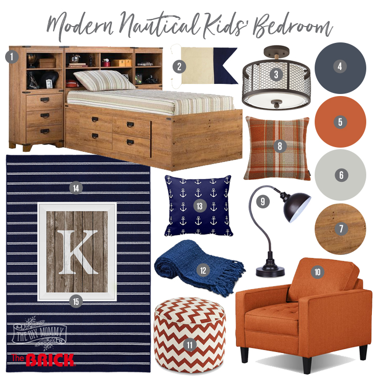 Modern Nautical Kids Bedroom Mood Board in navy, orange and driftwood