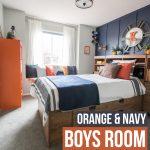 A Modern Navy & Orange Nautical Kids' Room Makeover