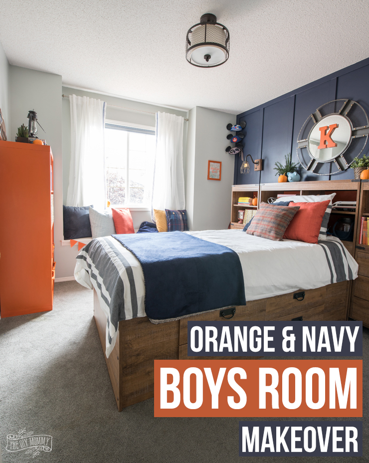 boys bedroom makeover a modern navy amp orange nautical room makeover the 10930